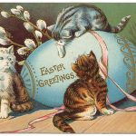 Happy Easter cats with pussy willows