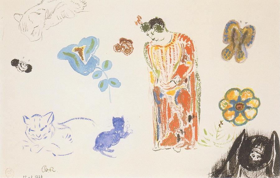 Study of Cats, Flowers and Woman, 1910-14 Odilon Redon