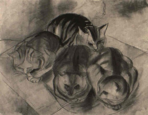 Adolf Richard Fleischmann, Vier Katzen