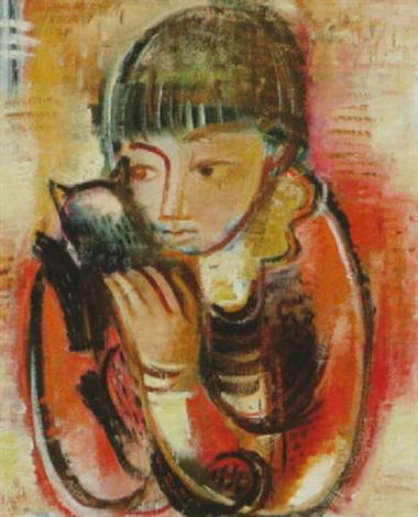 Girl and Cat, Adolf Richard Fleischmann