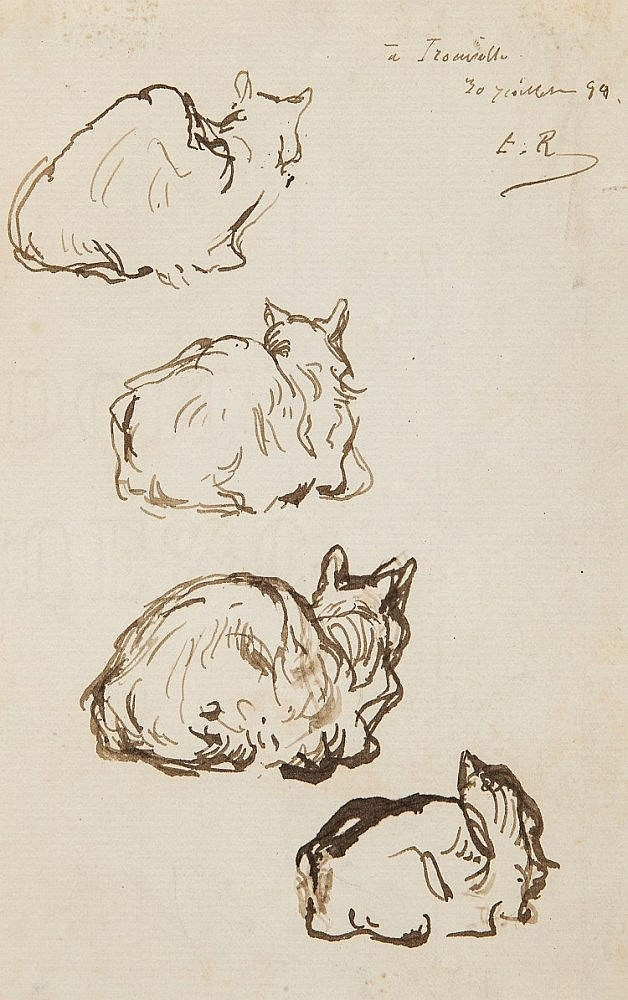 Ribot (Théodule, 1823-1891) - Four studies of a cat seen from behind