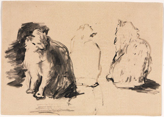 Sketch of Cats Théodule Ribot