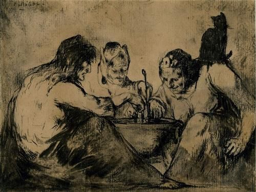 Three Witches and a Black Cat Seated around a Cauldron, Theodule Ribot