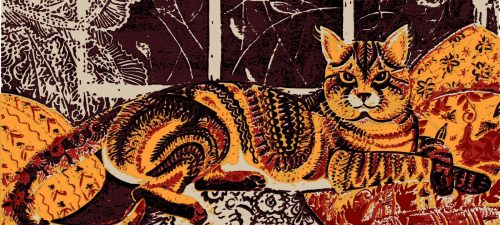 Woodblock print of cat