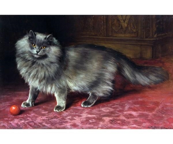 Persian Cat with Red Ball, William Luker