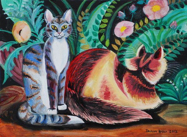 Two Cats in art