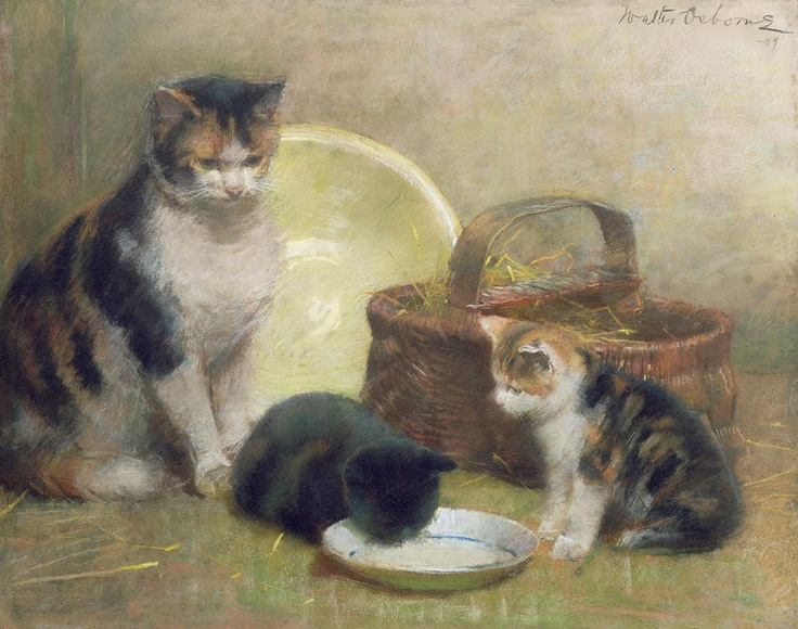Cat and Kittens Painting - Walter Frederick Osborne