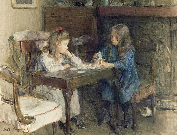 The Card Builders, Cat in Background, Walter Frederick Osborne