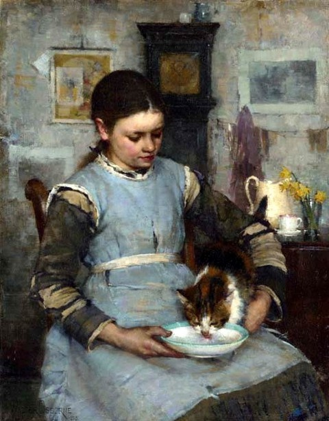 Walter Frederick Osborne (1859 – 1903, Irish) - A New Arrival, 1885