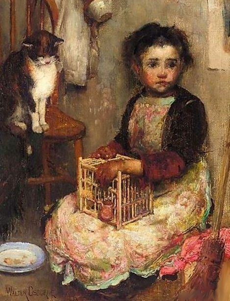 Walter Frederick Osborne (1859 – 1903, Irish) - Small Girl With A Cat