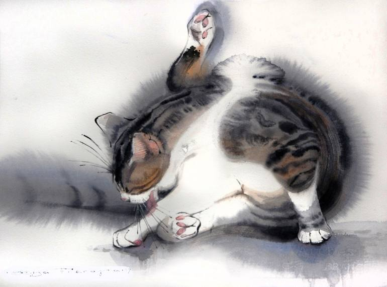 Calico Cat Scratching, Olga Flerova