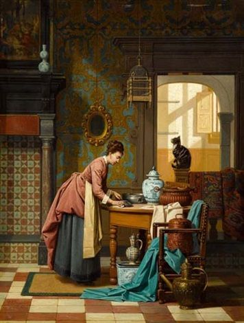 Frau mit Katze, Charles Joseph Grips