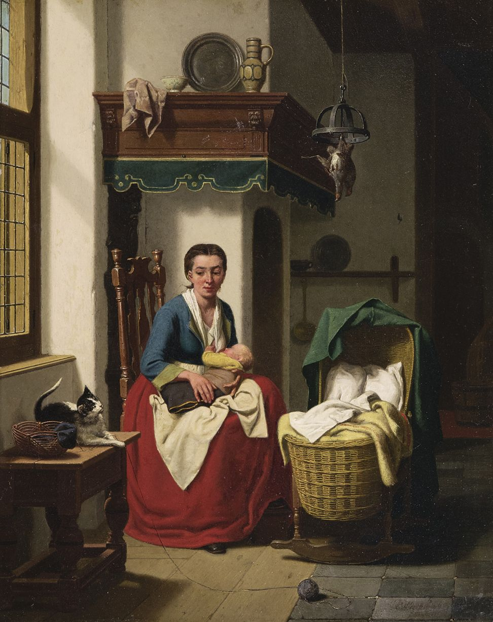 Mother Feeding her Baby with Cat, Charles Joseph Grips