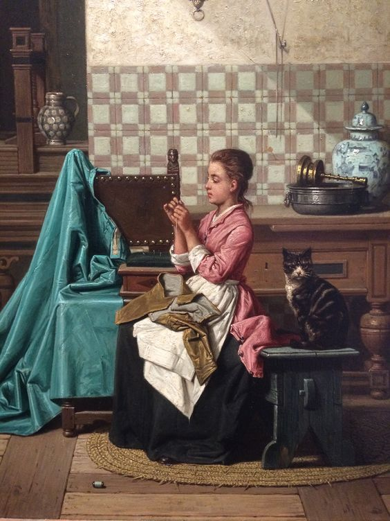 Threading the Needle with Cat, 1864 Charles Jospeh Grips