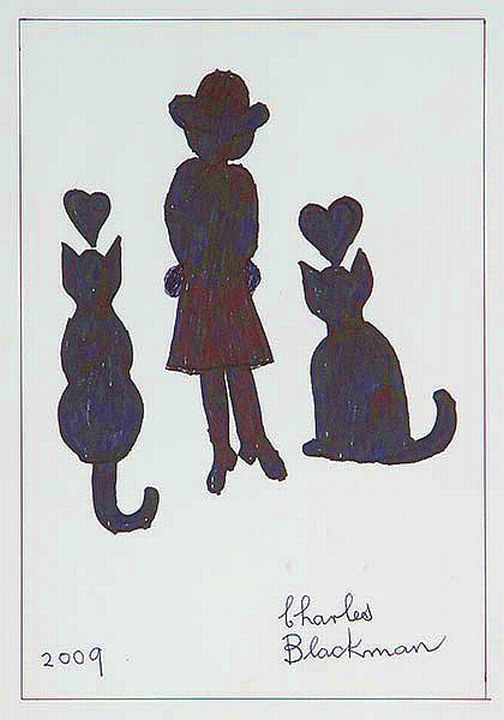 3 Girl with Two Cats, 2009, Charles Raymond Blackman