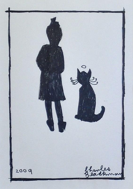 3a Girl and Cat 2009, Charles Raymond Blackman