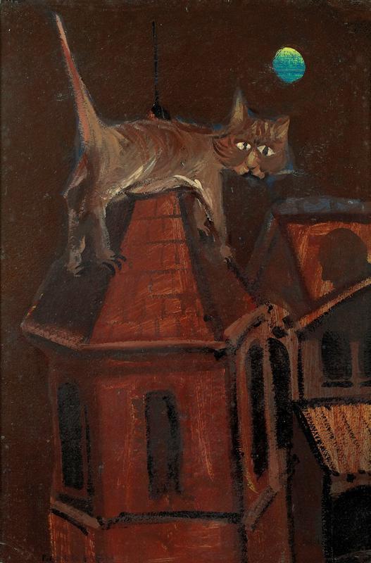 Cat on Roof 1952, Charles Blackman