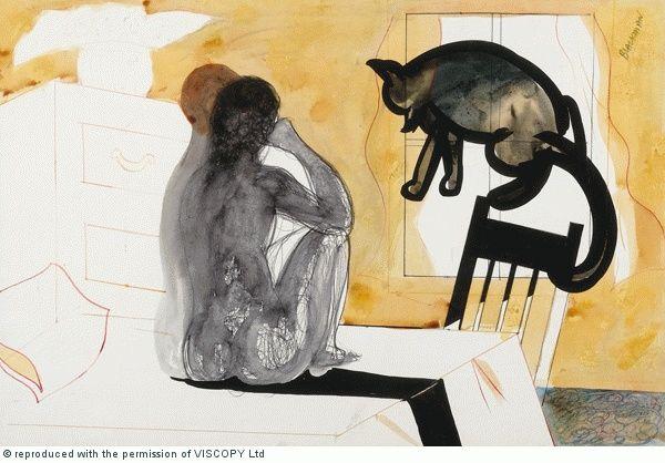 Charles Blackman, Cat, Woman, Man