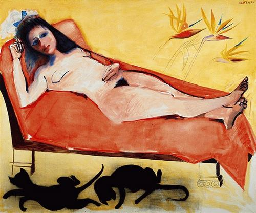 Reclining Nude with Two Black Cats, Charles Raymond Blackman