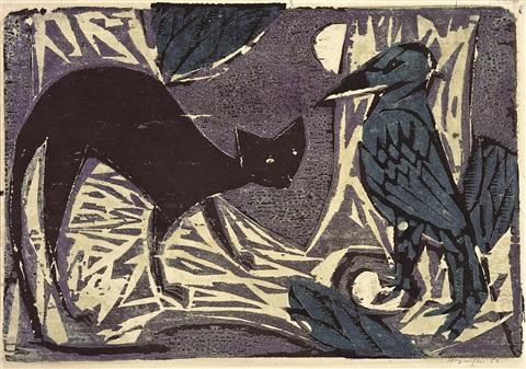 Horst Janssen, Katze und Vogel