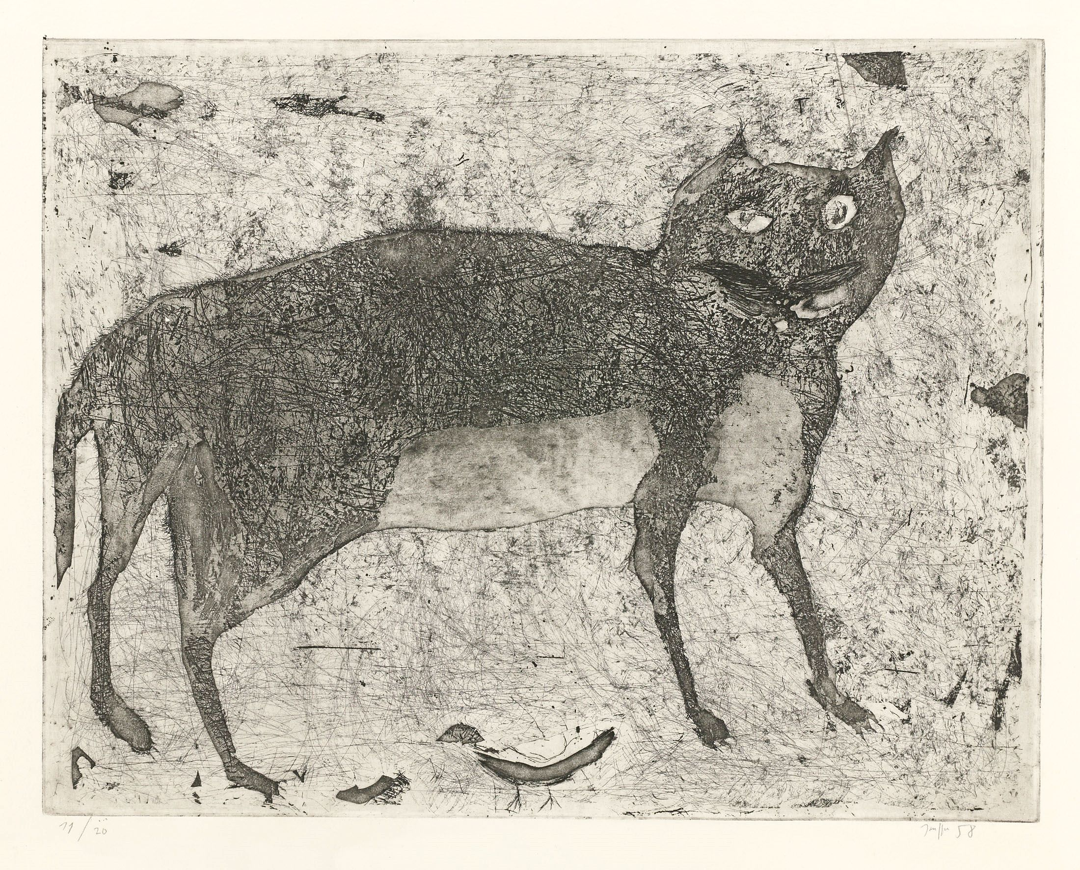 Horst Janssen, katze mit vogel