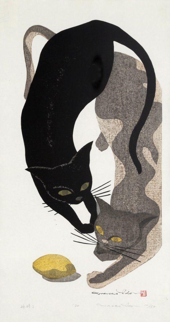 Two Cats and a Lemon - woodblock print - Ido Masao 1945-2016