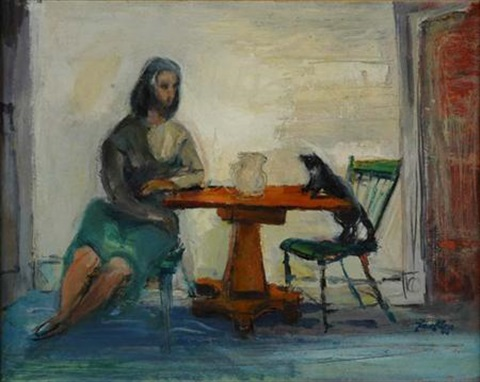 Franz Kline, Woman with Cat on Chair