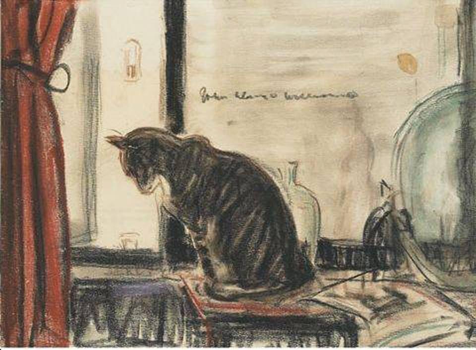 JOhn Alonzo Williams, Cat Sitting in Front of a Window